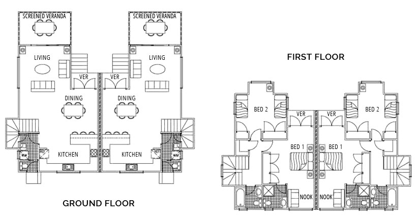Two Bedroom Townhouse - Floorplan