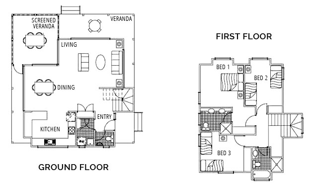 Three Bedroom Free Standing House - Floorplan