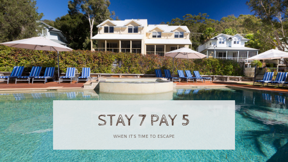 Stay 7 Pay 5 is back for 2019 at Blueys Retreat